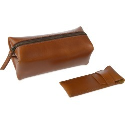 VIDA VIDA - Classic Tan Leather Shaving Bag With Razor Cover found on Bargain Bro India from Wolf & Badger US for $64.00