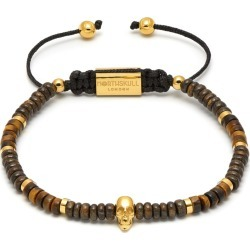 Northskull - Bronzite / Yellow Tiger Eye & Gold Atticus Skull Macramé Bracelet found on MODAPINS from Wolf & Badger US for USD $199.00