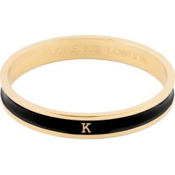 Florence London - Initial K Bangle 18Ct Gold Plated With Black Enamel