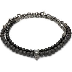Northskull - Black Onyx - Lavastone & Gunmetal Atticus Skull Chain Bracelet found on MODAPINS from Wolf & Badger US for USD $172.00