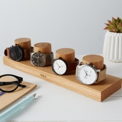 Personalised Solid Oak Watch Stand For Four Watches