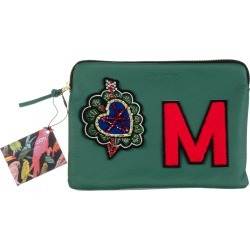 Laines London - Embellished Arrow Heart Personalised Classic Leather Clutch Bag - Medium - Green / Red found on Bargain Bro from Wolf and Badger for £113