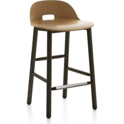 Alfi Counter Stool, Low Back Sand, Dark Stained Ash Frame