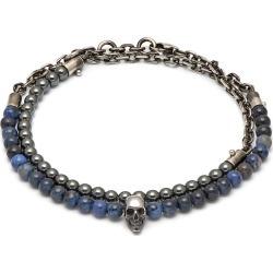Northskull - Dumortierite / Labradorite & Oxidised Silver Atticus Skull Chain Bracelet found on MODAPINS from Wolf & Badger US for USD $172.00