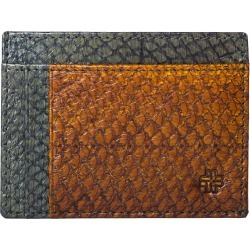 MAYU - Rio Fish Leather Card Wallet Moss and Cognac