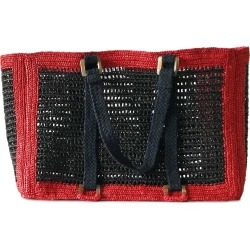 MARAINA LONDON - Agnes Black Large Raffia Beach Bag found on MODAPINS from Wolf and Badger for USD $214.70