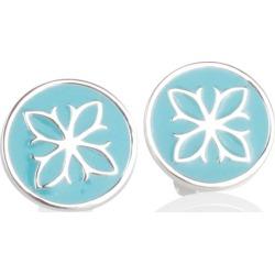 Fleur De Lis Enamel Disc Stud Earrings