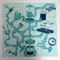Flowers Towers Rob Flowers - Clockwork Screenprint found on Bargain Bro UK from Wolf and Badger