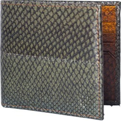 MAYU - Carlos - Fish Leather Bi-Fold Wallet Moss and Cognac
