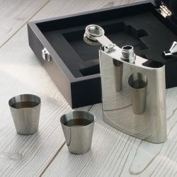 Engraved Hip Flask Presentation Set