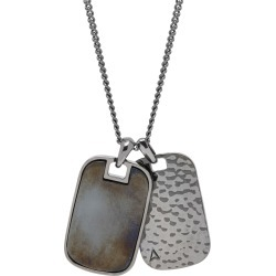 Northskull - Hematite Twin Id Tag Necklace In Gunmetal found on MODAPINS from Wolf and Badger for USD $229.25