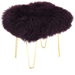 Judy - Sheepskin Footstool in Aubergine found on Bargain Bro UK from Clippings
