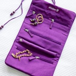 Silk travel jewellery roll in candy