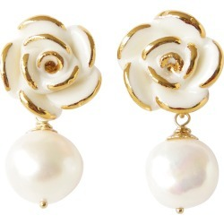 POPORCELAIN - Golden White Cloud Rose Pearl Drop Earrings found on Bargain Bro from Wolf & Badger US for USD $264.48