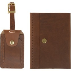 VIDA VIDA - Luxe Tan Leather Luggage Tag & Passport Holder Set found on Bargain Bro from Wolf & Badger US for USD $53.20