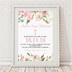 Girls blooms baptism/christening print