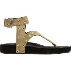 Isabel Marant Beige Suede Elwina Eyelet Sandals