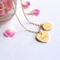 Personalised Gold Little 'Love' Heart and Initial Disc Necklace found on Bargain Bro India from hardtofind.com.au for $69.45