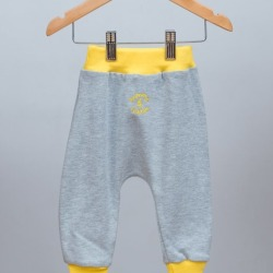 Babies cotton grey pants with yellow rib found on Bargain Bro India from hardtofind.com.au for $26.07