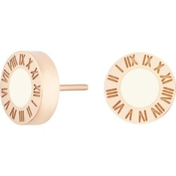 Florence London - Rose Gold Florence Studs With Cream Enamel