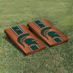 Michigan State Spartans Cornhole Game Set Rosewood Stained Stripe
