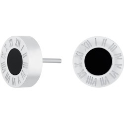 Florence London - Silver Florence Studs With Black Enamel