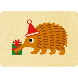 Christmas echidna wooden card