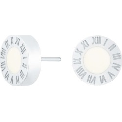 Florence London - Silver Florence Studs With Cream Enamel