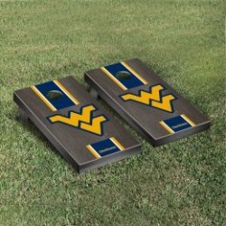 West Virginia Mountaineers Cornhole Game Set Onyx Stained Stripe