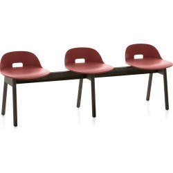 Alfi 3 Seater Bench, Low Back Red, Dark Stained Ash Frame