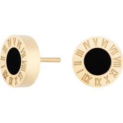 Florence London - Gold Florence Studs With Black Enamel