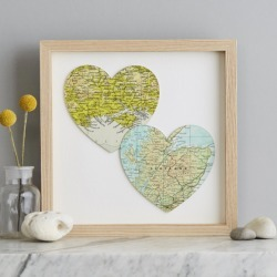Two map hearts wedding print found on Bargain Bro India from hardtofind.com.au for $208.57