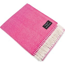 Heating & Plumbing London - Merino Lambswool Throw White & Fuchsia found on Bargain Bro UK from Wolf and Badger