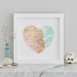 Brisbane and The Gold Coast map heart print