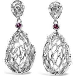 Bellus Domina - White Gold Plated Hive Earrings