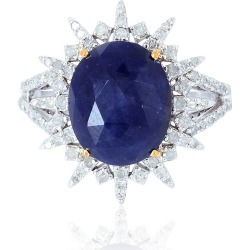 Artisan - 18Kt Solid White Gold Blue Sapphire Pave Diamond Silver Ring