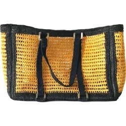 MARAINA LONDON - Agnes Yellow Large Raffia Beach Bag found on MODAPINS from Wolf and Badger for USD $214.70