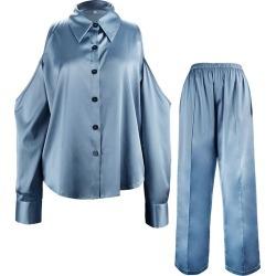 NOT JUST PAJAMA - Silk Strapless Suit - Moonlight Blue