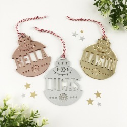 Personalised Christmas mirror name decoration