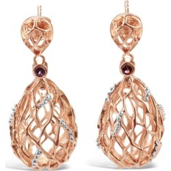 Bellus Domina - Rose and White Gold Plated Hive Earrings