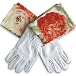 Protective Cuff leather gardening gloves in coral blooms