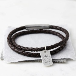 Men's Silver And Leather Handwriting Signature Bracelet found on Bargain Bro India from hardtofind.com.au for $107.66