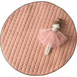 Quilted Cotton Play Mat - Dusty Pink