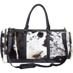 MAHI Leather - Leather Columbus Duffle Bag In Black & White Animal Print Pony Hair found on Bargain Bro UK from Wolf and Badger