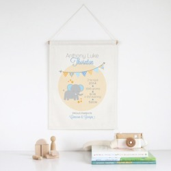 Elephant personalised birth print wall banner