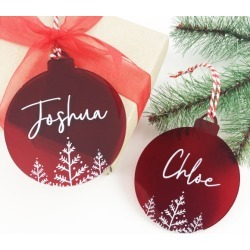Red Christmas name decoration