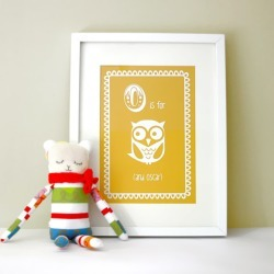 Personalised O is for owl child's letter print