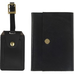 VIDA VIDA - Luxe Black Leather Luggage Tag & Passport Holder Set found on Bargain Bro UK from Wolf and Badger
