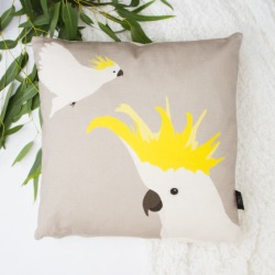 Cockatoo Cushion in Grey and Yellow found on Bargain Bro India from hardtofind.com.au for $48.98