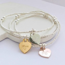 Sterling silver mum heart charm beaded bracelet found on Bargain Bro India from hardtofind.com.au for $46.85